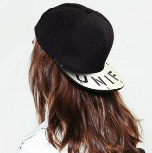 💎NEW💎 UNIF Black Metal Logo Snapback Hat